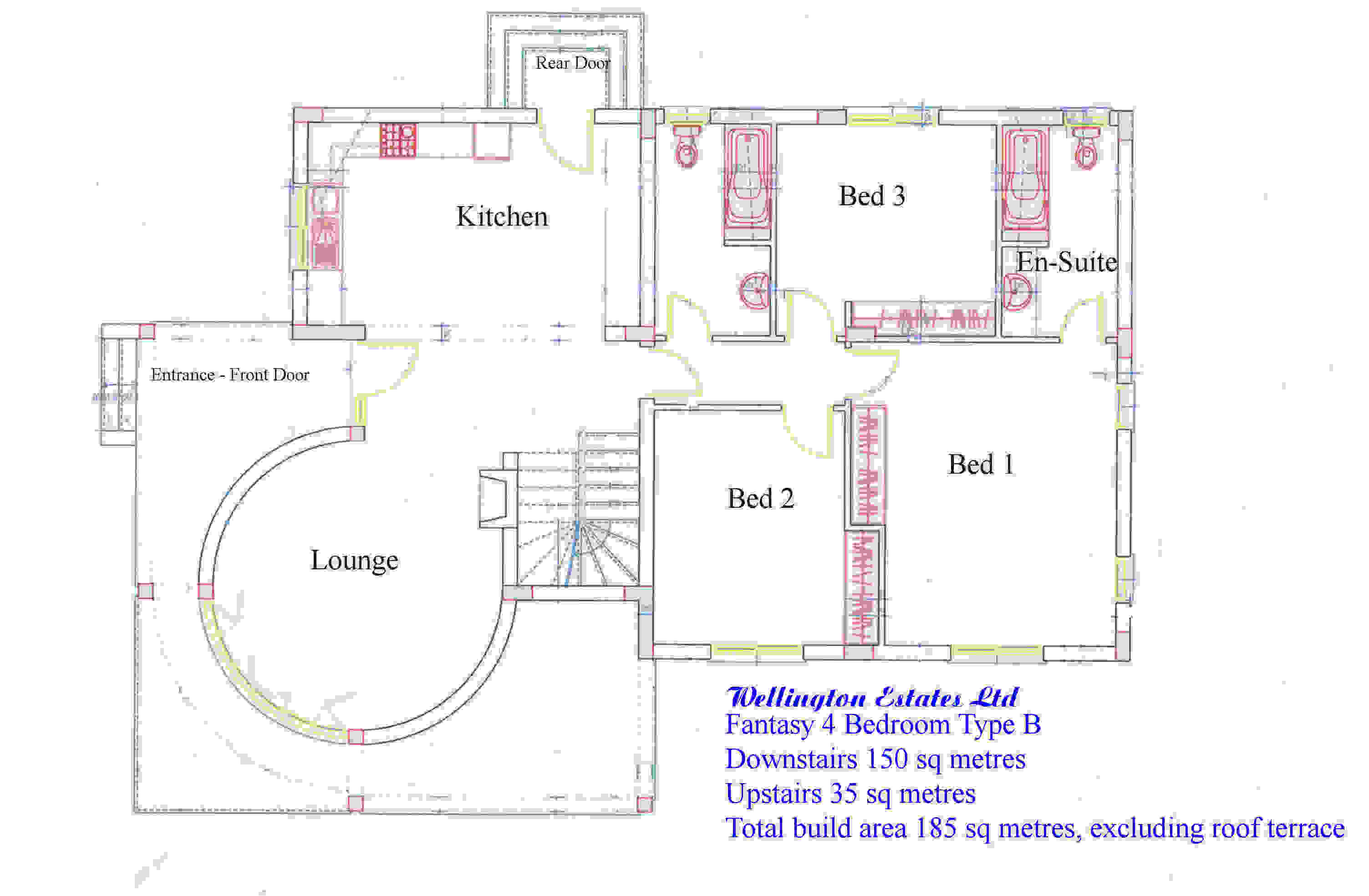 Fantasy tower 4 bedroom bungalow ground floor plan for 4 bedroom layout design