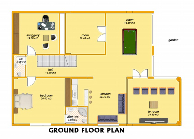 senator 3 bedroom villa ground floor plan